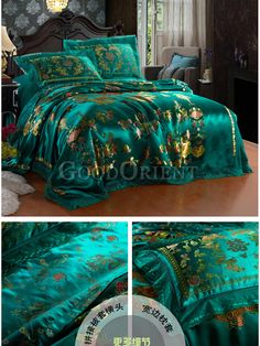 Satin Bedding, Bedding Sets, Luxury Bedspreads, Phoenix Design, Teal And Grey, Luxury Decor, Dream Rooms, Bed Spreads, Bed Sheets