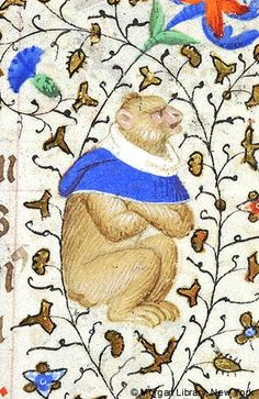 Monkey, wearing hood, arms crossed, seated in right margin   Book of Hours   France, Paris   ca. 1420-1425   The Morgan Library & Musuem