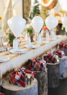 White balloon + plaid party favors | Pancakes and Pajamas 3rd birthday party by Ashley Nicole Events | Laura Murray Photography