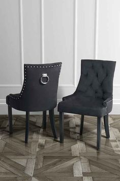 torino Black velvet ring back dining chair with stud detailing and walnut legs – my furniture Dining Decor, Dining Room Design, Dining Room Chairs, Dining Set, Dining Table, Black Velvet Chair, Blue Velvet Dining Chairs, Black Chairs, Accent Chairs Under 100