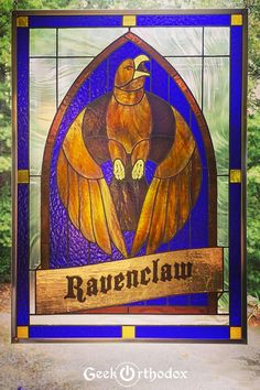 Harry Potter Ravenclaw House Original Stained Glass Window Panel by GeekOrthodoxArt on etsy.