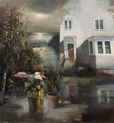Artist Jeremy Miranda is fascinated with how the mind creates memories and the juxtaposition of experiences both real and perceived. His oil paintings overlap interior and exterior environments to create unexpected relationships between disparate subjects, usually natural versus man-made. The interi