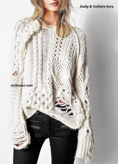 Модный свитер спицами от Zadig & Voltaire Kary Crochet Wool, Freeform Crochet, Knitwear Fashion, Knit Fashion, Fashion Fashion, Knitting Designs, Knitting Patterns, Sewing Patterns, Chunky Knitwear