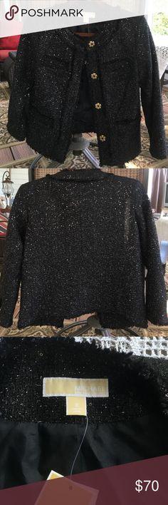 Selling this Michael Kors Cropped Tweed Sequined Black Jacket on Poshmark! My username is: rhiannongrace. #shopmycloset #poshmark #fashion #shopping #style #forsale #Michael Kors #Jackets & Blazers