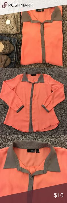 Cute peach top with gray trim - light & girly Lightweight, soft and feminine! Great fabric that wears well and this color is perfect for spring! Can be dressed up or down. Great condition and smoke free. Bust measures 20 inches laid flat. Hips are 20.5. Length is 25/26 front/back. Long sleeve (23 inches from shoulder seam to cuff). Found a small snag while listing but it's not obvious....see last picture. Have questions? Ask me! Offers/bundles welcomed but no models/trades please! Thanks for…
