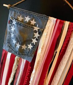 American Flag made with denim and ribbon 4th July Crafts, Fourth Of July Decor, 4th Of July Celebration, 4th Of July Decorations, July 4th, Americana Crafts, Patriotic Crafts, Patriotic Wreath, Patriotic Party