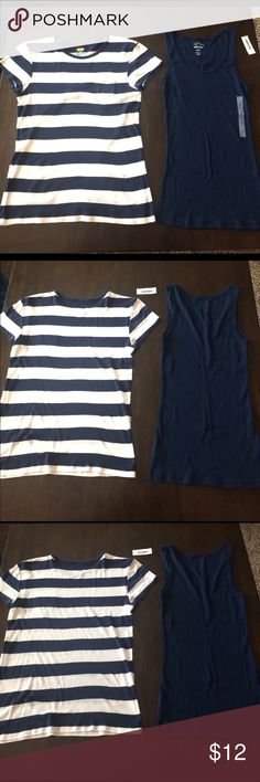 ⭐️Old Navy Tank & Tee Bundle⭐️ Navy Ribbed Tank, brand new with Tag, Navy & White striped Tee only warn once .Ribbed Tank Size: M, Striped Tee Size Large but could fit Medium. Old Navy Tops