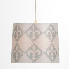 White and Gray Fleur-de-lis Pendant Light | Kirklands