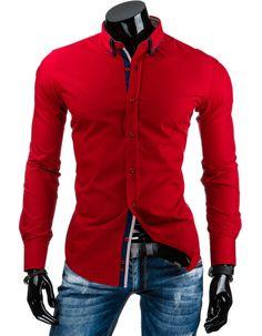 Męska koszula elegancka marki DSTREET. Kolor czerwony. Długi rękaw. Klasyczny trend w modzie męskiej. Modny design i niepowtarzalny wygląd. Lekko taliowana - slim fit. Idealna na co dzień.