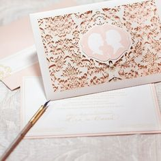 laser cut wedding invitation. Lace wedding invitation
