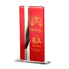 """10.25"""" High Quality Ruby Rectangular Fusion Glass Plaque. Glass Fusion combines multiple colors in these elegant freestanding plaques. Ideal for etching and color fill. A truly elegant form of displaying dedication and achievement. For engraving & one color fill add $30(G). Imprint area: 2.5"""" x 7"""". All handcrafted plaques may have a slight variance in color, finish, size & pattern. Air bubbles and flow marks are part of the standard fusion process for these one of a ki..."""