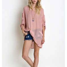 """Wild Roses"" Linen Tabbed Sleeve Tunic Top Tunic top with tabbed sleeves. Pair with denim and pumps. Partially sheer. 60% cotton, 40% polyester. True to size but a loose fit. Imported. Available in blush, jade and taupe. This listing is for the BLUSH. Brand new. True to size. NO TRADES. Bare Anthology Tops Blouses"