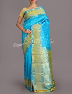 Madhuri Icy Cool Blue Trendy Pure #SalemSilkSaree