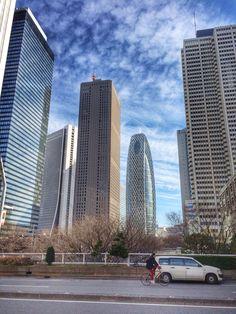 Tokyo buildings. Cocoon building on background.  #iphoneshot