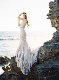 Coastal-inspired wedding gown by MXM Couture.