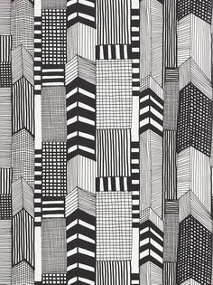 Marimekko Ruutukaava Wallpaper, Black / White, 14111