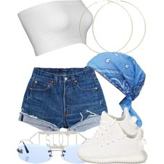 A fashion look from August 2017 featuring Levi& shorts, ASOS earrings and Chanel sunglasses. Browse and shop related looks. Baddie Outfits Casual, Kpop Fashion Outfits, Girls Fashion Clothes, Stylish Outfits, Tween Fashion, Fashion Ideas, Teen Clothing, Swag Outfits For Girls, Cute Swag Outfits