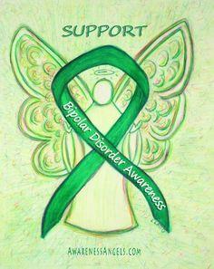 Bipolar Disorder Awareness Ribbon Angel Art #Bipolar #BipolarAwareness #BipolarDisorder #Angel