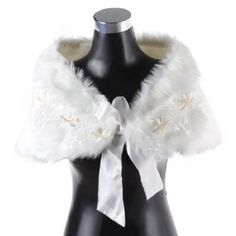 Remedios Boutique Appliqued Faux Fur Bridal Wrap Shawl with Satin Bowknot in Ivory Remedios Boutique. $11.39