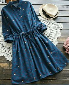 Deep Blue Fall and Spring No Others Long Shirt Knee-Length A-Line Causal and Going Casual Christmas Drawstring A Line Dress Stylish Dresses, Trendy Outfits, Casual Dresses, Trendy Fashion, Fashion Women, Floral Dresses, Long Dresses, Fashion Fall, Maxi Dresses