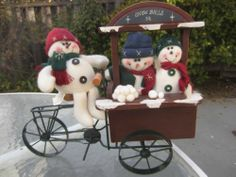 Three Snowmen on Bicycle Decoration Adorable | eBay