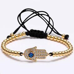 Charm Bracelets Hearty New Men Bracelets Gold Color Beaded Weaving Haute Couture Fastness Micro Inlay Zircon Cz 7mm Stopper Beads Braiding Macrame Elegant Appearance