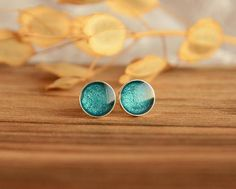 Teal earrings, metallic sea green waterproof round sterling silver ear studs, little 7 mm ear studs, teal jewelry, gift in jewelry box Teal Jewelry, Resin Jewelry, Gifts For Her, Great Gifts, Wooden Jewelry Boxes, Ear Studs, Metallic, Stud Earrings, Hand Painted