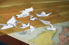 Handmade origami paper planes and boats vinyl by TeesOnTrees
