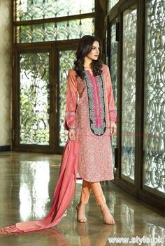 Lala brocade winter collection 2015 has launched just now. The collection is consisting of beautiful dresses with woolen shawls. Let's see them below.