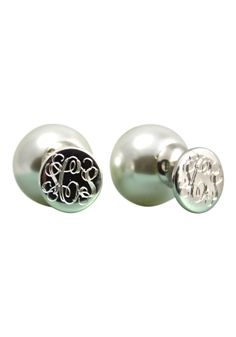 Double the #preppiness, 360 degrees of #pearls and #monograms with the Monogram and Pearl Two Sided Earrings by SwellCaroline.com.