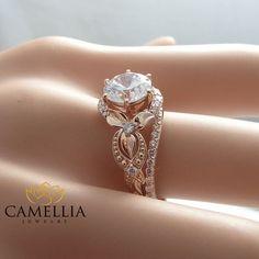 Unique Diamond Engagement Ring 14K Rose Gold by CamelliaJewelry anillos de compromiso | alianzas de boda | anillos de compromiso baratos http://amzn.to/297uk4t