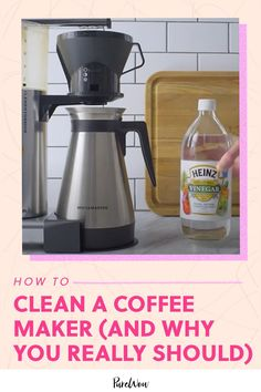 Sorry, caffeine lovers—your machine is filthy. Here's how to clean a coffee maker so you can enjoy your morning cup of joe sans yuck. #clean #coffee #maker Kitchen Storage Hacks, Kitchen Hacks, House Cleaning Tips, Cleaning Hacks, Heinz Vinegar, Diy Organization, Organizing, Distilled White Vinegar, Drip Tray