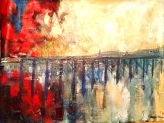 Abstract Jetty    Acrylic on Canvas    Artwork by Artist Sharon Wood    For Sale   swoody@internode.on.netPOA