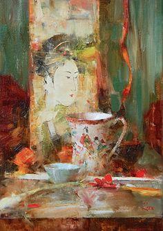 Japanese Teacup and Geisha Print by Laura Robb Oil ~ 14 x 10