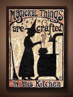 Küche Hexe - Magickal Dinge sind in Handarbeit In der Küche - 5 x 7 Karte