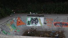 Taxonomy Project, ll can on the edge of the bowl. To reveal more of the location I placed the cans on the edge of the bowl and in line with the graffiti . Graffiti filled ramp faces and litter are a common sight in skateparks. I was also rather intrigued by what was in the bowl.