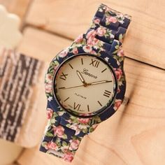 Cheap clock factory, Buy Quality dress fringe directly from China clock for baby room Suppliers: New Fashion Watch Luxury Flowers Printed Geneva Watch Women Casual Quartz Watch Elegant Popular Ladies Dress Wristwatch Relojes Stylish Watches, Cool Watches, Women's Watches, Wrist Watches, Luxury Watches, Hippie Grunge, Luxury Flowers, Beautiful Watches, Flower Prints