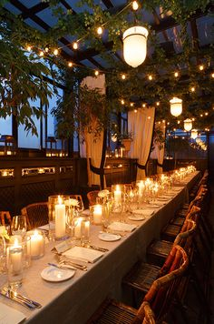 String lights and candles are great options for illuminating your wedding reception on a budget. Click to view how to Cut Wedding Costs With These 10 Clever Tips: http://www.colincowieweddings.com/articles/ideas-how-tos/decrease-wedding-bills-tips
