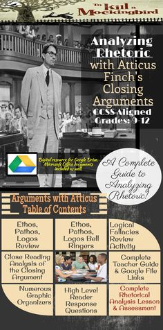 Secondary ELA- Analyzing Rhetoric. Teach students how to analyze an author's arguments with Atticus Finch's Closing Arguments!