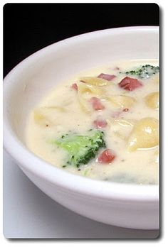 Broccoli, Ham, Mac and Cheese Soup @FoodBlogs