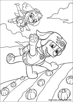 Flying pups - Paw Patrol Coloring Pages