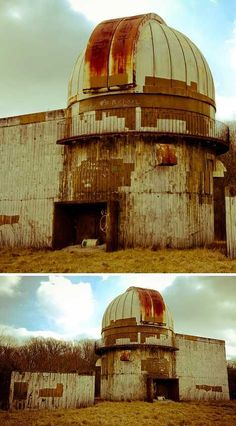 Rusting Observatory: Middle of Illinois farm country.: