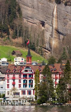 The station building at Vitznau on the shores of Lake Lucerne, Switzerland
