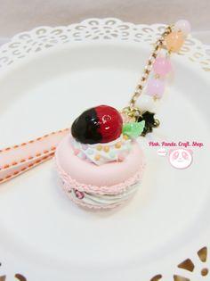 Cute juicy strawberry lightweight paper clay by pinkpandacraftshop, $18.00 #handmade #sweetdeco #kawaii #cute #macaroon #macaron #pink #keychain #ribbon #frenchdessert #strawberry #dessert #fakesweet #faux #miniature
