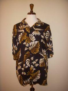 Hilo Hattie Rayon Black Ivory Brown Palm Leaves Hawaiian Aloha Camp Shirt