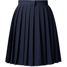 Orla Kiely Solid Crepe Blend Skirt ($365) ❤ liked on Polyvore featuring skirts, bottoms, saias, gonne, navy, blue pleated skirt, button skirt, navy blue pleated skirt, crepe skirt and blue skirt
