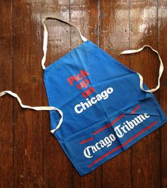 Five dollar shipping  Blue Red and White Chicago Trib Apron by presleypigs, $38.00