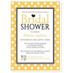 Bridal Shower Invitations - Polka Dot Yellow Black and White | Order your personalized invitations at https://www.facebook.com/BoardmanPrinting/