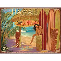 Come to Hawaii Surfing Shack Metal Sign | Surfing Decor | RetroPlanet.com Add the flavor of the islands to your decor with this hand-crafted Hawaii Surfboard Sign. Featuring nostalgic artwork and a vintage look thanks to a hand-weathering process, this cool sign will bring seashore sunshine to your home or office.