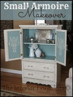 Small Armoire Makeover  LOVE, LOVE  the thoughts and ideas of this blogger as she created this piece.